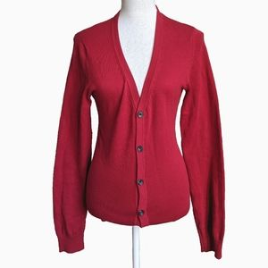 LE CHÂTEAU | RED BUTTON UP CARDIGAN